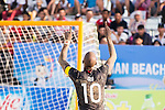 MOREIRA Ozu of Japan celebrates during the Beach Soccer Men's Team Gold Medal Match between Japan vs Oman on Day Nine of the 5th Asian Beach Games 2016 at Bien Dong Park on 02 October 2016, in Danang, Vietnam. Photo by Marcio Machado / Power Sport Images