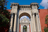 The Ottoman style eceletic mix of Baroque & neo-Classical style  Architecture of the Sultans gate of the Dolmabahçe (Dolmabahce)  Palace, built by Sultan, Abdülmecid I between 1843 and 1856. Istanbul Turkey