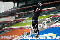 6th February 2021; Mattoli Woods Welford Road Stadium, Leicester, Midlands, England; Premiership Rugby, Leicester Tigers versus Worcester Warriors; Leicester Tigers Head Coach Steve Borthwick catches a ball during the pre-match warm-up