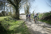 With about 5km to go, Martin Mortensen (DNK/ONE) leads the breakaway over the last gravel section<br /> <br /> 33th Tro Bro Léon 2016