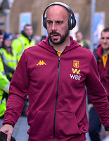 Pepe Reina Goalkeeper of Aston Villa (29) arriving before   the Premier League match between Brighton and Hove Albion and Aston Villa at the American Express Community Stadium, Brighton and Hove, England on 18 January 2020. Photo by Edward Thomas / PRiME Media Images.