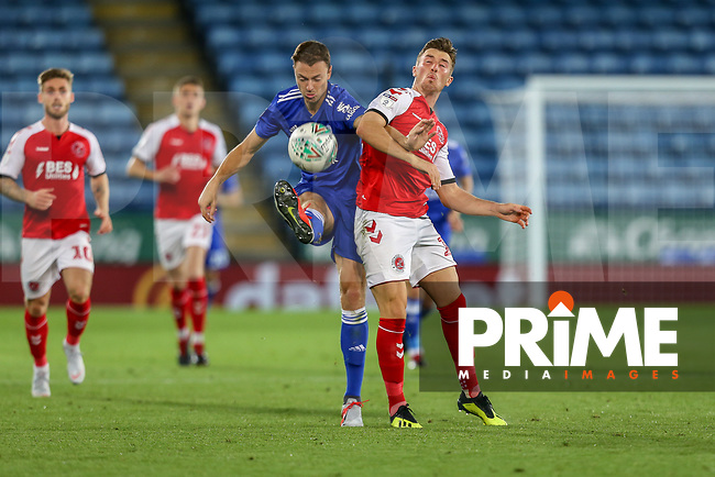 Jonny Evans of Leicester City wins the ball during the English League Cup Round 2 Group North match between Leicester City and Fleetwood Town at the King Power Stadium, Leicester, England on 28 August 2018. Photo by David Horn.
