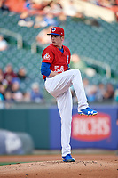 Buffalo Bisons starting pitcher Ryan Borucki (54) delivers a pitch during a game against the Scranton/Wilkes-Barre RailRiders on May 18, 2018 at Coca-Cola Field in Buffalo, New York.  Buffalo defeated Scranton 5-1.  (Mike Janes/Four Seam Images)