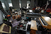 "Pictured: Instruments on stage. Saturday 21 September 2019<br /> Re: Concert for the exhibition of ""No More Shall We Part, 14 Paintings, 17 Years Later"", a collection of paintings based on the Nick Cave and the Bad Seeds album with the same name, by Stefanos Rokos at Bernerts Gallery in Antwerp, Belgium."