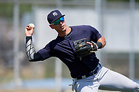 New York Yankees Chris Hess (2) during practice before a Minor League Spring Training game against the Toronto Blue Jays on March 18, 2018 at Englebert Complex in Dunedin, Florida.  (Mike Janes/Four Seam Images)