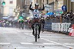 Jan Bakelants (BEL) AG2R La Mondiale wins the 2015 GranPiemonte race, first held in 1906, running 185km race starting at San Francesco al Campo and finishing in Cirie, Italy. 2nd October 2015.<br /> Picture: Angelo Carconi/ANSA | Newsfile