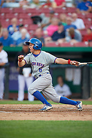 South Bend Cubs shortstop Clayton Daniel (6) grounds out during a game against the Kane County Cougars on July 23, 2018 at Northwestern Medicine Field in Geneva, Illinois.  Kane County defeated South Bend 8-5.  (Mike Janes/Four Seam Images)