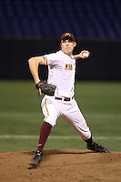 Minnesota Golden Gophers pitcher Tom Windle #38 pitches during a game against the Texas Longhorns at the Metrodome on March 22, 2013 in Minneapolis, Minnesota. (Brace Hemmelgarn/Four Seam Images)