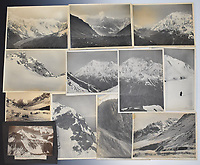 BNPS.co.uk (01202 558833)<br /> Pic: StroudAuctions/BNPS<br /> <br /> Pictured: The sale also included Somervell's stunning mountain range photographs.<br /> <br /> Fascinating art work by a British mountaineer who twice climbed Mount Everest have sold at auction a century later for over £30,000.<br /> <br /> Theodore Howard Somervell took part in pioneering expeditions to the Himalayas in 1922 and 1924.<br /> <br /> He got to within 1,000ft of the summit, the highest point reached at that time, despite not using an oxygen tank.<br /> <br /> The skilled artist produced dozens of watercolours and sketches of the scenes he witnessed, including glacial peaks and camp life.<br /> <br /> His works sparked a bidding war when they were sold by a direct descendant with Stroud Auctions, of Gloucs.  An oil on canvas painting of Everest base camp in 1922 sold for £7,500, almost 40 times its estimate.