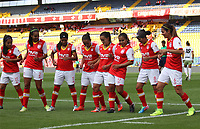 BOGOTA -COLOMBIA, 23-04-2017.Leicy Santos player of Independiente Santa Fe  (number 10)  celebrates his goal with his parnerts  agasint of Patriotas .Action game between   Independiente Santa Fe and Patriotas  during match for the date 9 of the Women´s  Aguila League I 2017 played at Nemesio Camacho El Campin stadium . Photo:VizzorImage / Felipe Caicedo  / Staff