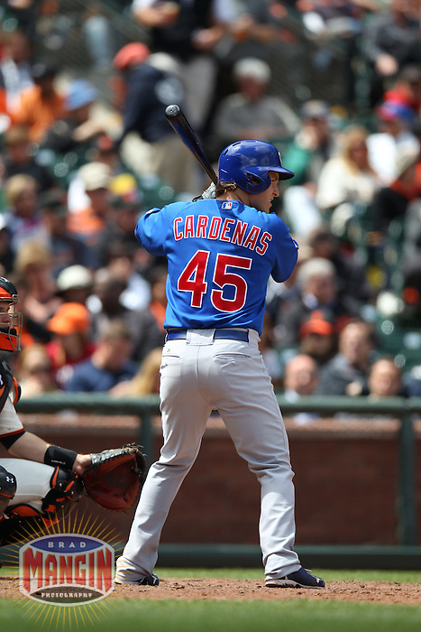 SAN FRANCISCO, CA - JUNE 4:  Adrian Cardenas #45 of the Chicago Cubs bats against the San Francisco Giants during the game at AT&T Park on Monday, June 4, 2012 in San Francisco, California. Photo by Brad Mangin