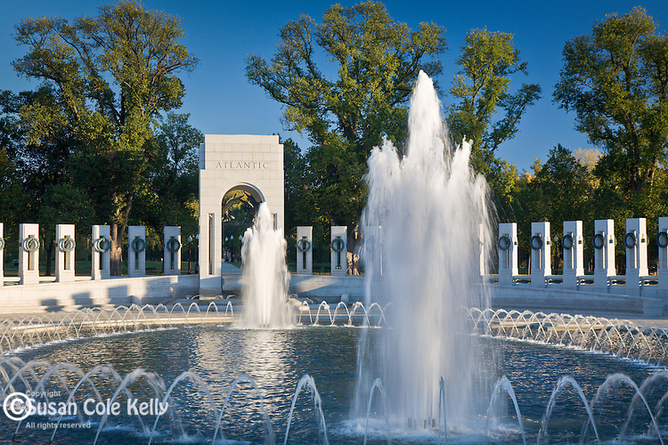 Fountains at the Atlantic Theater of the World War II Memorial, Washington, DC, USA