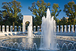 Fountains at the Atlantic Theater of the World War II Memorial, Washington, DC, USA