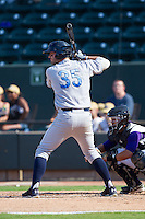 Cam Gallagher (35) of the Wilmington Blue Rocks at bat against the Winston-Salem Dash at BB&T Ballpark on July 6, 2014 in Winston-Salem, North Carolina.  The Dash defeated the Blue Rocks 7-1.   (Brian Westerholt/Four Seam Images)