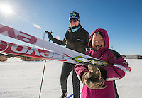 """Danny-Girl"" from Zackar Levi School in Lower Kalskag is overcome with joy as Skiku coach Frankie takes her out to ski. Skiku is a non-profit organization with the mission of creating a sustainable Nordic ski program in communities throughout Alaska. Volunteer coaches travel to villages each spring to instruct youngsters and distribute donated equipment with the goal of establishing ski programs at rural schools.  Photo by James R. Evans"