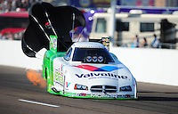 Feb. 18, 2012; Chandler, AZ, USA; NHRA funny car driver Jack Beckman during qualifying for the Arizona Nationals at Firebird International Raceway. Mandatory Credit: Mark J. Rebilas-