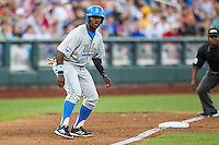 UCLA pitcher Nick Vander Tuig (21) takes his lead off of third base against the North Carolina State Wolfpack during Game 8 of the 2013 Men's College World Series on June 18, 2013 at TD Ameritrade Park in Omaha, Nebraska. The Bruins defeated the Wolfpack 2-1, eliminating North Carolina State from the tournament. (Andrew Woolley/Four Seam Images)