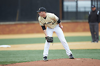 Wake Forest Demon Deacons starting pitcher Jared Shuster (41) looks to his catcher for the sign against the Notre Dame Fighting Irish at David F. Couch Ballpark on March 10, 2019 in  Winston-Salem, North Carolina. The Demon Deacons defeated the Fighting Irish 7-4 in game one of a double-header.  (Brian Westerholt/Four Seam Images)