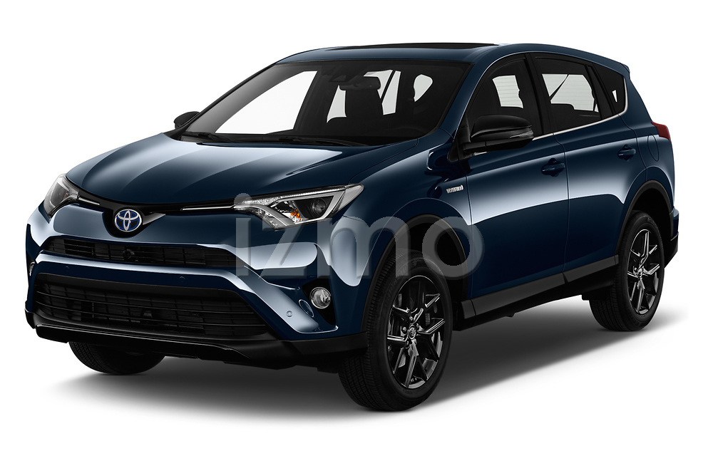 2018 Toyota RAV4 Black edition Hybride 5 Door SUV angular front stock photos of front three quarter view