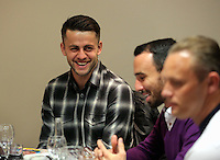 Pictured L-R: Lukasz Fabianski, Leon Britton and Lee Trundle Thursday 08 April 2016<br />Re: Zimkids dinner at the Liberty Stadium, Swansea, UK