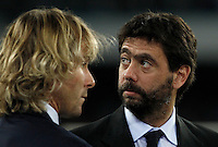 Calcio, Serie A: Napoli vs Juventus. Napoli, stadio San Paolo, 26 settembre 2015. <br /> Juventus' advisor Pavel Nedved, left, and president Andrea Agnelli wait for the start of the Italian Serie A football match between Napoli and Juventus at Naple's San Paolo stadium, 26 September 2015.<br /> UPDATE IMAGES PRESS/Isabella Bonotto