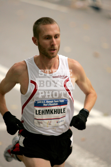 Jason Lehmkuhle runs through Central Park while competing in the 2008 Men's Olympic Trials Marathon on November 3, 2007 in New York, New York.  The race began at 50th Street and Fifth Avenue and finished in Central Park.  Hall won the race with a time of 2:09:02.