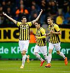 Nederland, Arnhem, 31 mei 2015<br /> Seizoen 2014-2015<br /> Play-offs voor voorronde Europa League<br /> Vitesse-SC Heerenveen (5-2)<br /> Marko Vejinovic van Vitesse juicht nadat hij een doelpunt heeft gemaakt. V.l.n.r.: Marko Vejinovic, Valeri Qazaishvili en Jan-Arie van der Heijden