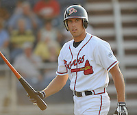 June 19, 2008: Outfielder David Berres (1) of the Danville Braves, rookie Appalachian League affiliate of the Atlanta Braves, in a game against the Burlington Royals at Dan Daniel Memorial Park in Danville, Va. Photo by:  Tom Priddy/Four Seam Images
