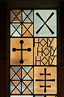 Stained glass window in Keenan-Stanford chapel