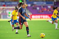 ORLANDO CITY, FL - FEBRUARY 21: Sophia Smith #17 of the USWNT dribbles the ball during a game between Brazil and USWNT at Exploria Stadium on February 21, 2021 in Orlando City, Florida.