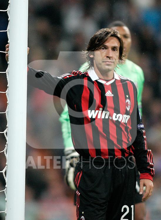 Milan's Andrea Pirlo dejected during Champions League match. October 21, 2009. (ALTERPHOTOS/Alvaro Hernandez).