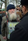 A Christian evangelist with a placard at Speakers' Corner in Hyde Park, London.