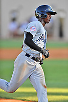 Pulaski Yankees left fielder Brayan Emery (17) runs to third base during a game against the Elizabethton Twins at Joe O'Brien Field on June 27, 2016 in Elizabethton, Tennessee. The Yankees defeated the Twins 6-4. (Tony Farlow/Four Seam Images)
