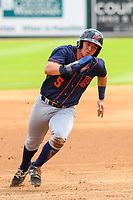 Bowling Green Hot Rods second baseman Trey Hair (5) rounds third base during a Midwest League game against the Wisconsin Timber Rattlers on July 23, 2018 at Fox Cities Stadium in Appleton, Wisconsin. Wisconsin defeated Bowling Green 5-3. (Brad Krause/Four Seam Images)