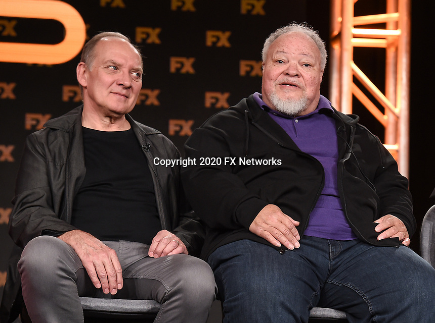 """PASADENA, CA - JANUARY 9: (L-R) Cast members Zach Grenier and Stephen McKinley Henderson attend the panel for """"Devs"""" during the FX Networks presentation at the 2020 TCA Winter Press Tour at the Langham Huntington on January 9, 2020 in Pasadena, California. (Photo by Frank Micelotta/FX Networks/PictureGroup)"""