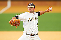 Wake Forest Demon Deacons relief pitcher Niko Spezial #27 in action against the Elon Phoenix at Wake Forest Baseball Park on May 1, 2012 in Winston-Salem, North Carolina.  The Demon Deacons defeated the Phoenix 7-5.  (Brian Westerholt/Four Seam Images)
