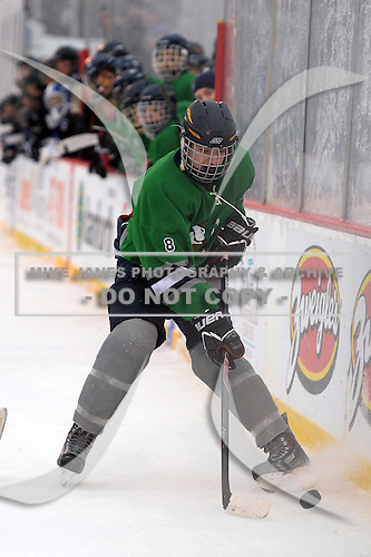 Notre Dame Fighting Irish of Batavia forward Ryan Webster (8) during a varsity ice hockey game against the Brockport Blue Devils during the Section V Rivalry portion of the Frozen Frontier outdoor hockey event at Frontier Field on December 22, 2013 in Rochester, New York.  (Copyright Mike Janes Photography)