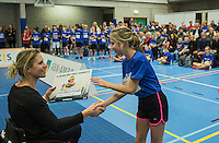 Rotterdam, Netherlands, December 14, 2016, Topsportcentrum, Ballkids selection day for ABNAMROWTT 2017,  Esther Vergeer gives the winners a certificat<br /> Photo: Tennisimages/Henk Koster