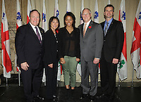 October 29 2012 - Montreal, Quebec, CANADA - Gerald Tremblay, Mayor of Montreal receive at City Hall  local athletes who took part in London 2012  Olympics and Paralympics games. IN PHOTO  Jennifer Abel