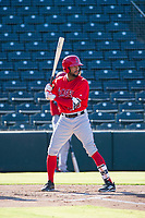AZL Angels designated hitter Jordon Adell (25) bats during a game against the AZL Indians on August 7, 2017 at Tempe Diablo Stadium in Tempe, Arizona. AZL Indians defeated the AZL Angels 5-3. (Zachary Lucy/Four Seam Images)