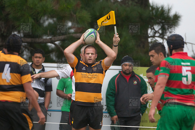 Bombay hooker Shaun Muir awaits the call before throwing to a lineout.  Counties Manukau Premier Club Rugby game between Bombay and Waiuku played up on the hill at Bombay on March 26th 2011. Waiuku won 57 - 10 after leading 24 - 3 at halftime.