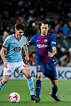 Sergio Busquets Burgos (R) of FC Barcelona tackles Jozabed Sanchez Ruiz of RC Celta de Vigo  during the Copa Del Rey 2017-18 Round of 16 (2nd leg) match between FC Barcelona and RC Celta de Vigo at Camp Nou on 11 January 2018 in Barcelona, Spain. Photo by Vicens Gimenez / Power Sport Images