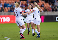 HOUSTON, TX - JANUARY 28: Sam Mewis #3, Abby Dahlkemper #7 and Lindsey Horan #9 of the United States celebrate a goal during a game between Haiti and USWNT at BBVA Stadium on January 28, 2020 in Houston, Texas.