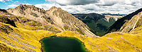 Pristine Hinapouri Tarns with St. Arnaud ranges in distance, Nelson Lake National Park, South Island, New Zealand, NZ