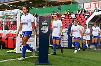 Gent's players pictured entering the pitch before a female soccer game between Zulte Waregem and the KAA Gent Ladies on the fourth matchday of the 2020 - 2021 season of Belgian Scooore Womens Super League , saturday 10 October 2020  in Waregem , Belgium . PHOTO SPORTPIX.BE | SPP | DAVID CATRY