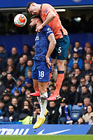 Everton's Michael Keane battles for possession with Chelsea's Olivier Giroud<br /> <br /> Photographer Stephanie Meek/CameraSport<br /> <br /> The Premier League - Chelsea v Everton - Sunday 8th March 2020 - Stamford Bridge - London<br /> <br /> World Copyright © 2020 CameraSport. All rights reserved. 43 Linden Ave. Countesthorpe. Leicester. England. LE8 5PG - Tel: +44 (0) 116 277 4147 - admin@camerasport.com - www.camerasport.com