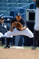 New York Yankees first baseman Alvaro Noriega (25) during an Instructional League game against the Toronto Blue Jays on September 24, 2014 at George M. Steinbrenner Field in Tampa, Florida.  (Mike Janes/Four Seam Images)