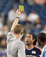 New England Revolution midfielder Lee Nguyen (24) collects a yellow card. In a Major League Soccer (MLS) match, the New England Revolution tied Philadelphia Union, 0-0, at Gillette Stadium on September 1, 2012.