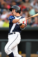 Designated hitter Colby Woodmansee (26) of the Columbia Fireflies bats in a game against the Rome Braves on Monday, July 3, 2017, at Spirit Communications Park in Columbia, South Carolina. Columbia won, 1-0. (Tom Priddy/Four Seam Images)