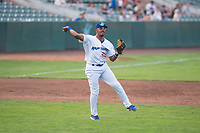 Ogden Raptors third baseman Jefrey Souffront (29) throws to first base during a Pioneer League game against the Great Falls Voyagers at Lindquist Field on August 23, 2018 in Ogden, Utah. The Ogden Raptors defeated the Great Falls Voyagers by a score of 8-7. (Zachary Lucy/Four Seam Images)